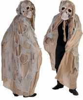 Beige doodshoofd spook verkleedkleding