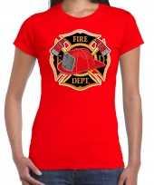 Brandweer logo verkleed t shirt verkleedkleding rood voor dames