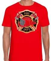 Brandweer logo verkleed t shirt verkleedkleding rood voor heren