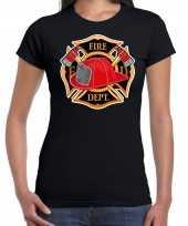Brandweer logo verkleed t shirt verkleedkleding zwart voor dames