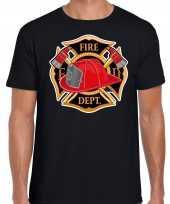 Brandweer logo verkleed t shirt verkleedkleding zwart voor heren