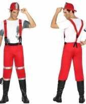 Brandweerman joe verkleedkleding met bretels voor heren