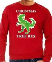 Christmas tree rex kerstsweater verkleedkleding rood voor heren