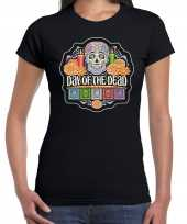 Day of the dead dag van de doden halloween verkleed t-shirt verkleedkleding zwart voor dames