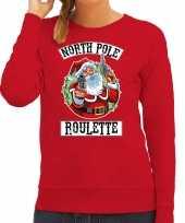Foute kerstsweater verkleedkleding northpole roulette rood voor dames