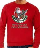 Foute kerstsweater verkleedkleding rambo but you can call me santa rood voor heren