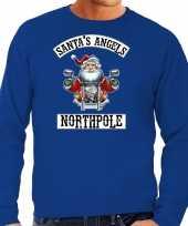Foute kerstsweater verkleedkleding santas angels northpole blauw voor heren