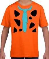Fred holbewoner verkleedkleding t-shirt oranje voor kinderen