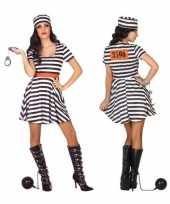 Gevangene boef bonnie verkleed verkleedkleding jurk voor dames