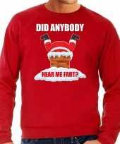 Grote maten foute kersttrui verkleedkleding did anybody hear my fart rood voor heren