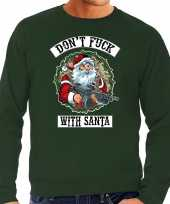Grote maten foute kersttrui verkleedkleding dont fuck with santa groen voor heren