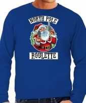 Grote maten foute kersttrui verkleedkleding northpole roulette blauw voor heren