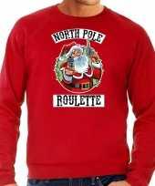 Grote maten foute kersttrui verkleedkleding northpole roulette rood voor heren