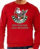 Grote maten foute kersttrui verkleedkleding rambo but you can call me santa rood voor heren