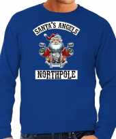Grote maten foute kersttrui verkleedkleding santas angels northpole blauw voor heren