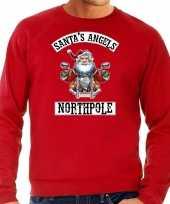 Grote maten foute kersttrui verkleedkleding santas angels northpole rood voor heren