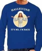 Hallelujah its me im back kerstsweater verkleedkleding blauw voor heren