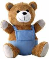 Knuffeldieren beer met blauwe verkleedkleding