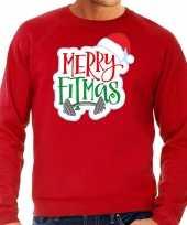 Merry fitmas kerstsweater verkleedkleding rood voor heren