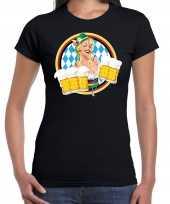 Oktoberfest bierfeest drank fun t-shirt verkleedkleding zwart met beierse kleuren voor dames